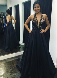 A Line Black Halter Floor Length Prom Dress With Applique And Pockets