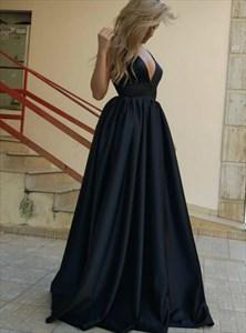 Black Deep V Neck Sleeveless Deep V Back Long Taffeta Prom Dress