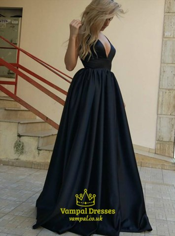 Black Deep V Neck Sleeveless Deep V Back Long Taffeta Prom Dress