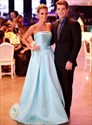 Light Blue Strapless Sleeveless Long Satin Prom Dress With Bow