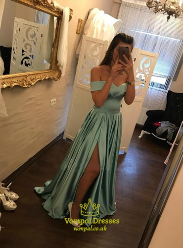 Blue Off The Shoulder Pleated Satin Prom Dress With Split