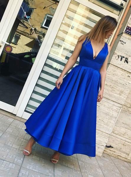 Simple A Line Royal Blue V Neck Sleeveless Tea Length Prom Dress