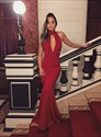 Burgundy High Neck Keyhole Sleeveless Sheath Long Mermaid Prom Dress