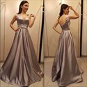 Champagne A Line V Neck Sleeveless Satin Prom Dresses With Bow