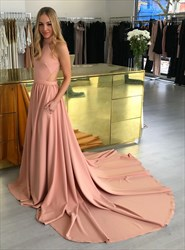 Blush Pink High Neck Sleeveless Prom Dress With Pockets And Train