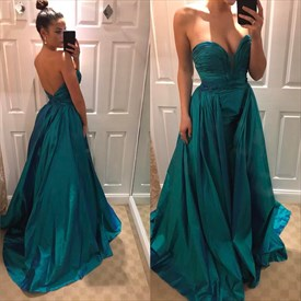 Simple A Line Emerald Green Ruched Sweetheart Satin Prom Dress