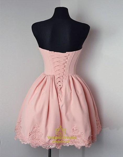 A Line Sweetheart Short Dress With Lace Appliques And Lace Up Back