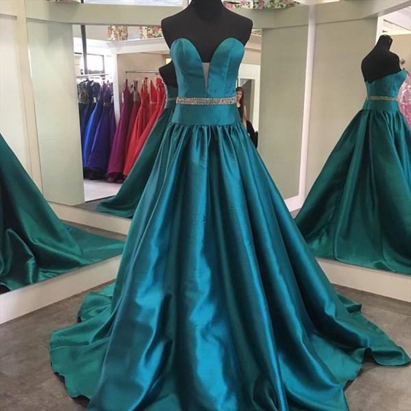 Turquoise Sweetheart Neck Sleeveless Prom Dress With Beaded Waist