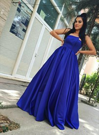Elegant Royal Blue Strapless Sleeveless Satin Long Prom Dress
