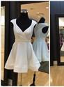 Simple A Line White V Neck Cap Sleeve Satin Short Homecoming Dresses