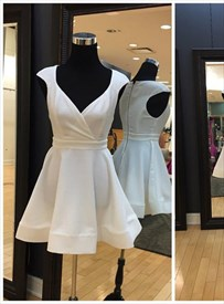Simple A Line White V Neck Cap Sleeve Satin Short Homecoming Dresses