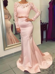 Pink Long Sleeve Sheath Lace Top Satin Bottom Two Piece Prom Dress