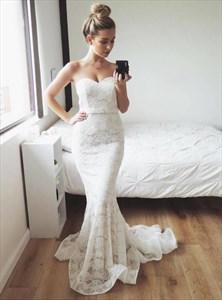 White Sweetheart Neckline Sheath Lace Mermaid Prom Dress With Train