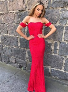 Simple Red Strapless Short Sleeve Sheath Lace Overlay Prom Dress