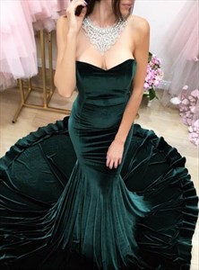 Emerald Green Sweetheart Sleeveless Mermaid Prom Dress With Train