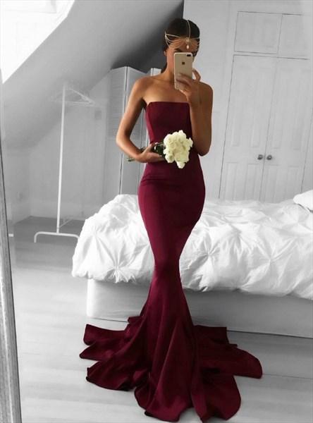 Burgundy Strapless Sleeveless Floor Length Sheath Mermaid Prom Dress