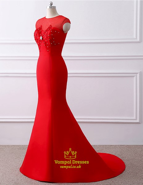 Red High Neck Keyhole Beaded Applique Satin Prom Dress With Train