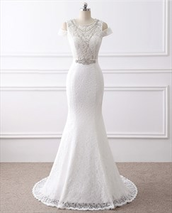 Jewel Neckline Cap Sleeve Beaded Sheath Lace Wedding Dress With Train
