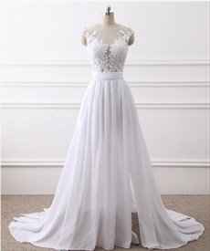 Long Cap Sleeve Lace Applique Prom Dress With Split And Buttons