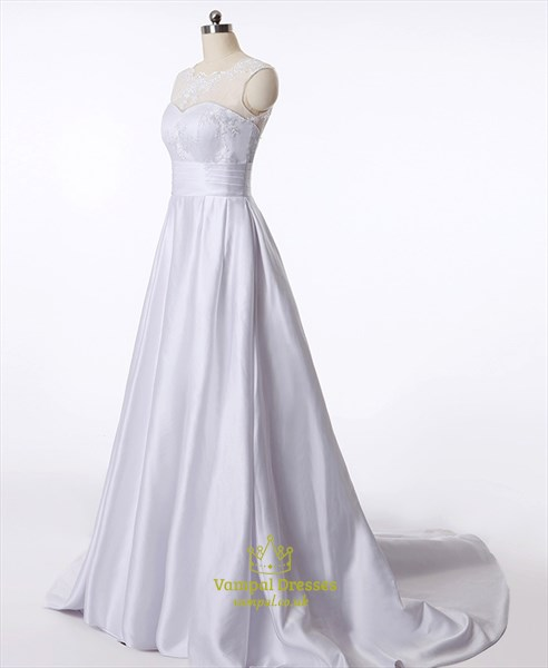 A Line Illusion Neck Sleeveless Lace Applique Ruched Waist Prom Dress