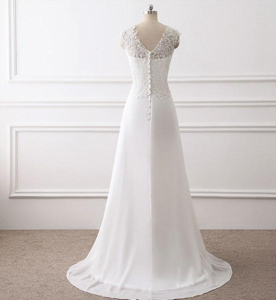 V Neck Sleeveless Beaded Applique Floor Length Chiffon Prom Dress