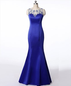 Royal Blue Bateau Neck Crystal Beaded Illusion Back Sheath Prom Dress