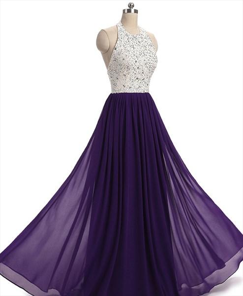 A Line Purple Halter Sleeveless Rhinestone Beaded Chiffon Prom Dress
