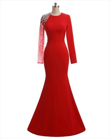 Red High Neck Long Sleeve Crystal Beaded Sheath Long Prom Dress
