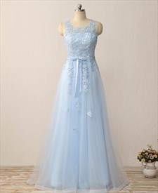 Princess Light Blue Sleeveless Keyhole Applique Tulle Long Prom Dress