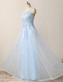 Princess Light Blue Sleeveless Keyhole Applique Tulle Long Prom Dress