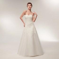 Elegant Sweetheart Sleeveless Lace Applique Tulle Wedding Dress