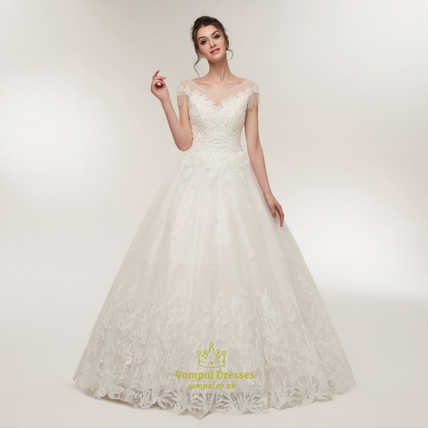 A Line Jewel Cap Sleeve Keyhole Beaded Applique Tulle Wedding Dress