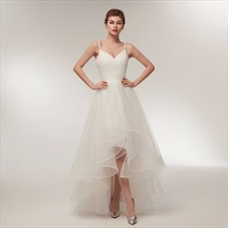 White Spaghetti Strap Sleeveless Ruched Tulle High Low Prom Dress