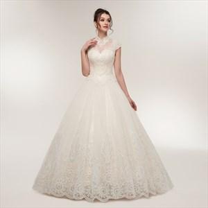 High Neck Short Sleeve Beaded Applique Sequin Embellished Tulle Dress