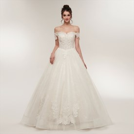 Off The Shoulder Cap Sleeve Beaded Applique Tulle Wedding Dress