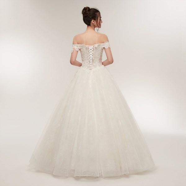 Off The Shoulder Cap Sleeve Beaded Applique Tulle Wedding Dress