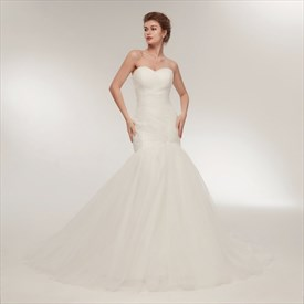 Sweetheart Neckline Ruched Bodice Sheath Long Wedding Dress With Veil