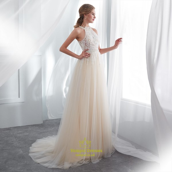 A Line Champagne Halter Neck Sleeveless Beaded Applique Prom Dress