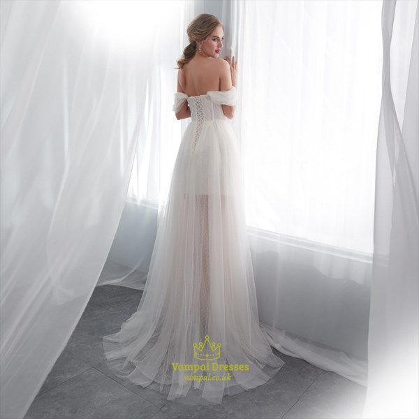 A Line White Sweetheart Cap Sleeve Beading Applique Tulle Prom Dress