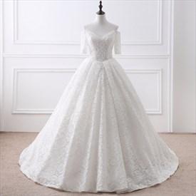 Simple V Neck Half Sleeve Lace Wedding Dress With Lace Up And Train