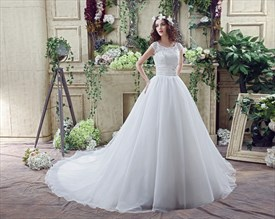 A Line Jewel Cap Sleeve Beaded Organza Wedding Dress With Long Train