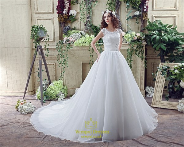 A Line Jewel Cap Sleeve Beaded Organza Wedding Dress With Long Train