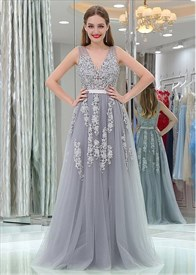 Princess A Line Grey V Neck Sleeveless Applique Tulle Prom Dresses