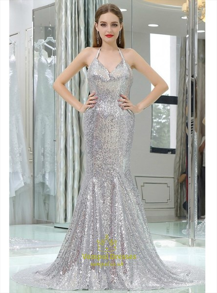 Silver Halter Sleeveless Backless Sheath Sequin Prom Dress With Train