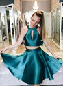 A Line Emerald Green Halter Keyhole Satin Two Piece Dress With Bow