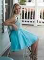 Aqua Blue Halter Neck Sleeveless Beaded Bodice Tulle Short Prom Dress