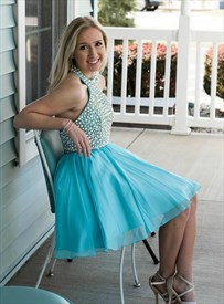 Aqua Blue Halter Neck Sleeveless Beaded Bodice Tulle Short Prom Dress
