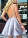 Light Blue V Neck Sleeveless Backless Short Prom Dress With Pockets
