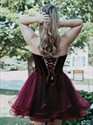 Burgundy A Line Sweetheart Sleeveless Knee Length Organza Prom Dress