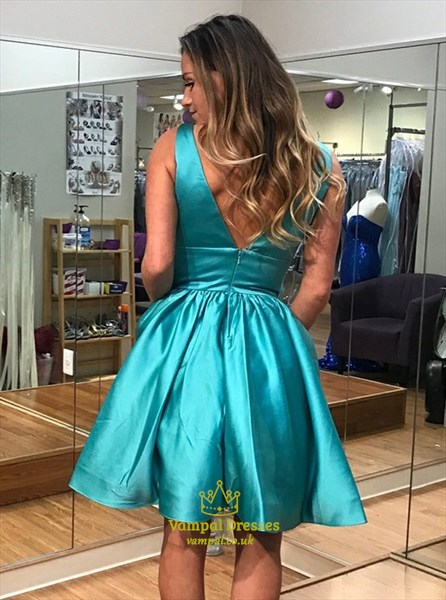Aqua Blue V Neck Sleeveless V Back Satin Short Dress With Pockets